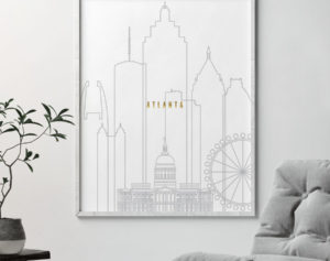Atlanta art skyline poster grey gold second
