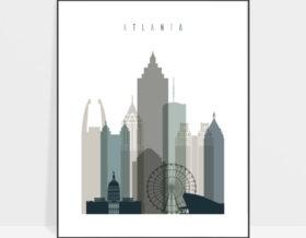 Atlanta art print skyline earth tones 4