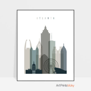 Atlanta art print skyline earth tones 4