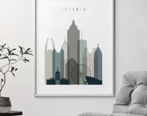 Atlanta art print skyline earth tones 4 second