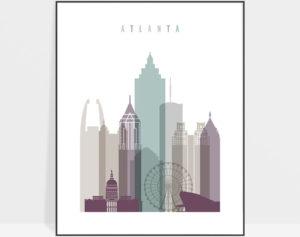 Atlanta skyline art print pastel 2