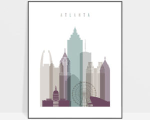 Atlanta skyline art print pastel 2