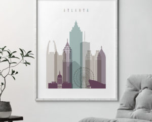 Atlanta skyline art print pastel 2 second