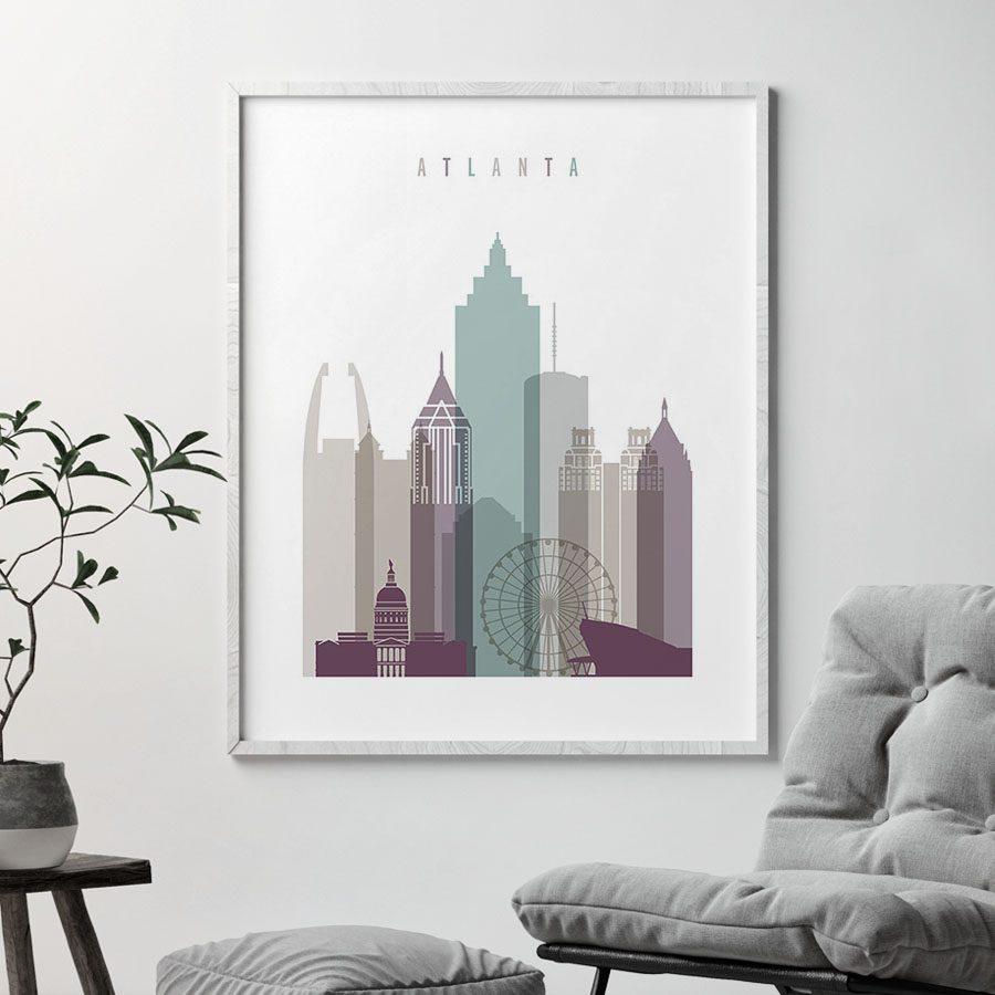 Atlanta skyline art print pastel 2 second