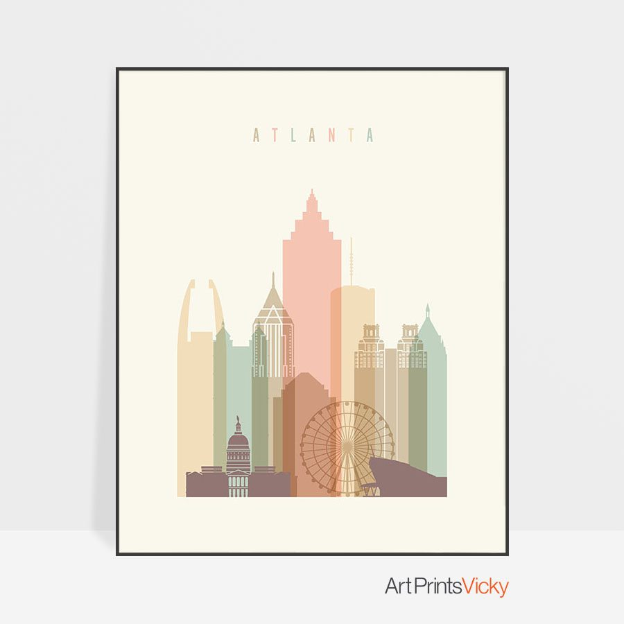Atlanta Georgia skyline wall art pastel cream