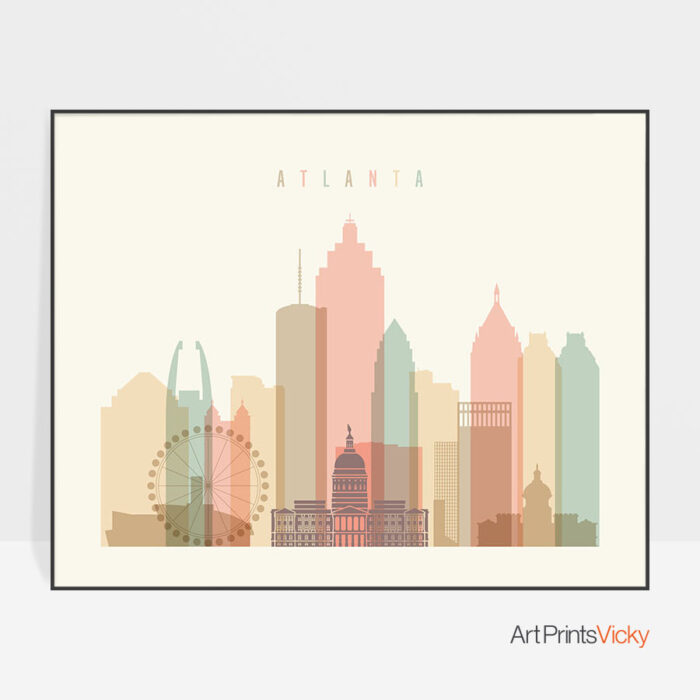 Atlanta poster skyline pastel cream landscape