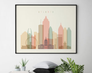 Atlanta poster skyline pastel cream landscape second