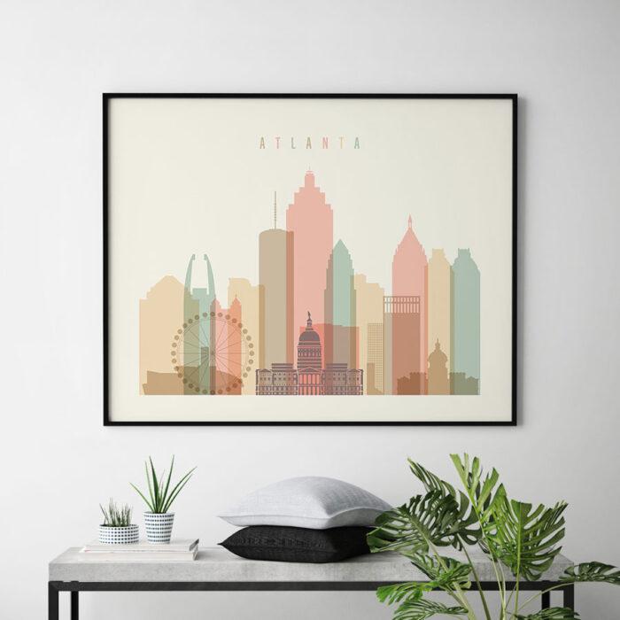 Atlanta poster skyline pastel cream landscape second