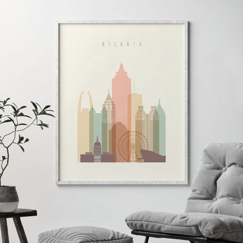Atlanta Georgia skyline wall art pastel cream second