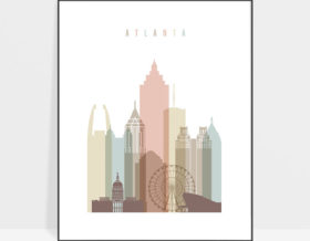 Atlanta art print skyline pastel white