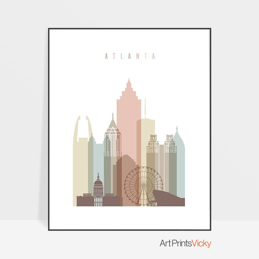 Atlanta art print skyline pastel white