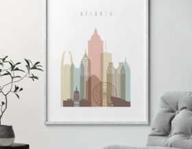 Atlanta art print skyline pastel white second