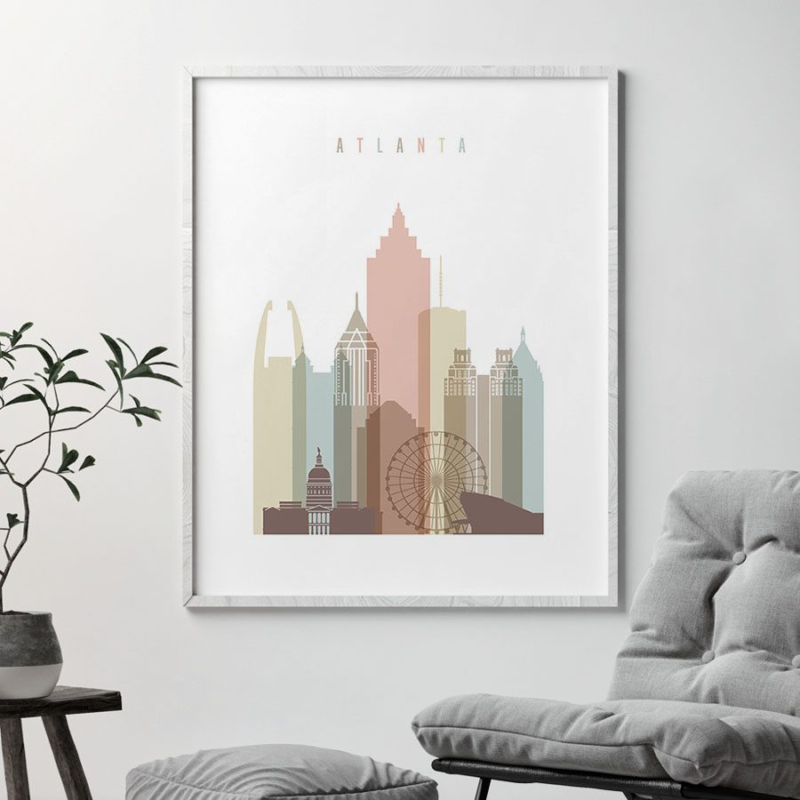 Atlanta art print skyline pastel white second