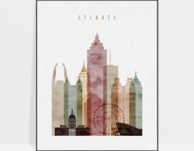 Atlanta skyline art print watercolor 1