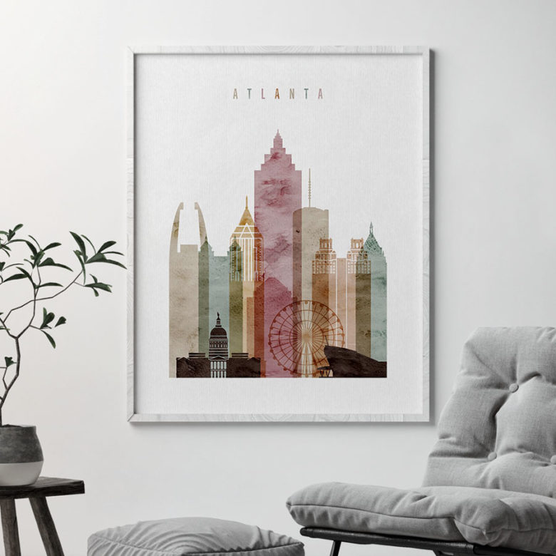 Atlanta skyline art print watercolor 1