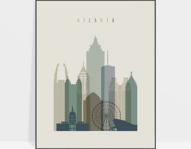 Atlanta print skyline earth tones 1