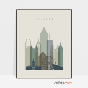 Atlanta print skyline earth tones 1