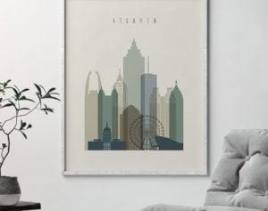 Atlanta print skyline earth tones 1 second