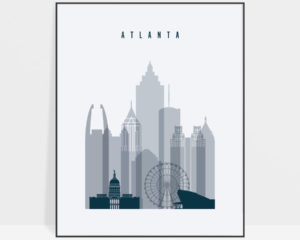 Atlanta skyline poster grey blue
