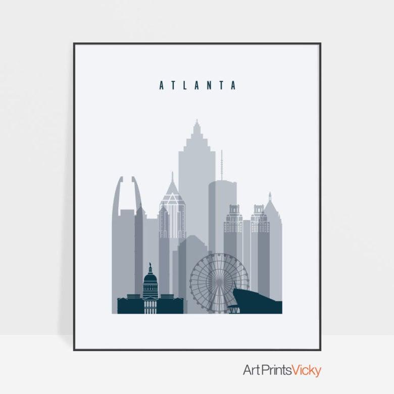Atlanta skyline poster grey blue