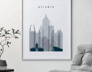 Atlanta skyline poster grey blue second