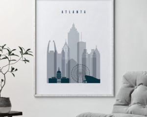 Atlanta skyline poster grey blue second