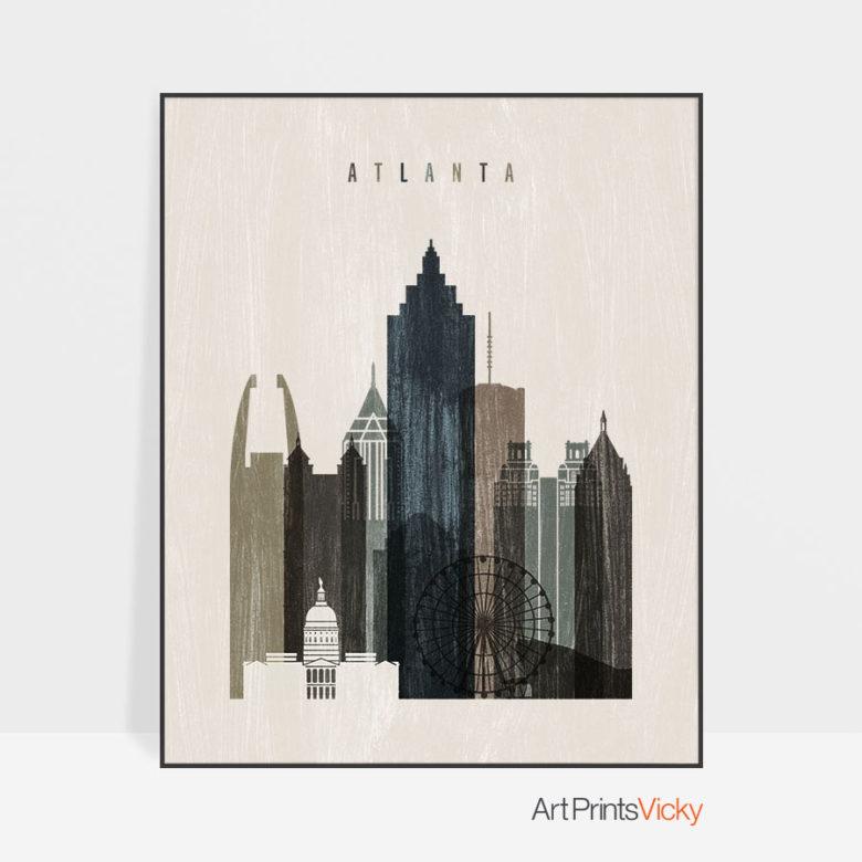 Atlanta skyline print distressed 2