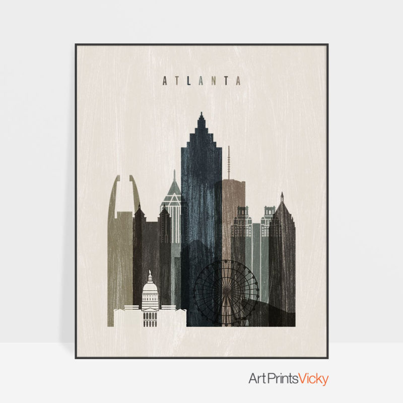 Atlanta skyline print distressed 2