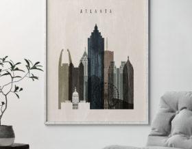 atlanta skyline print distressed 2 second photo at artprintsvicky.com