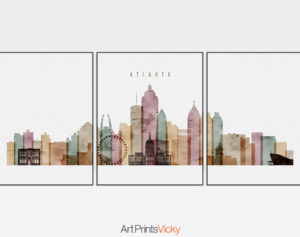 Atlanta watercolor 1 skyline set of 3 prints