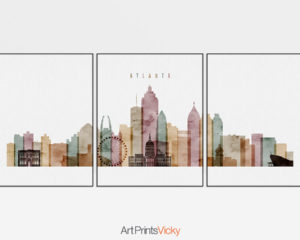 Atlanta watercolor 1 skyline set of 3 prints