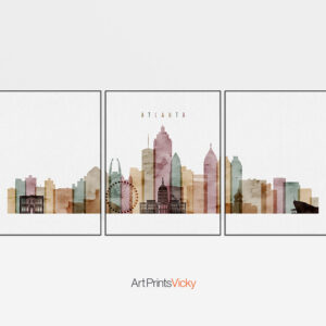 Atlanta Watercolor 1 Skyline 3 Prints Set