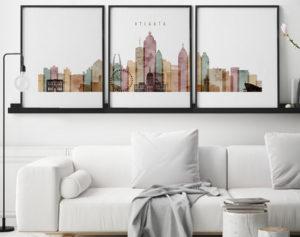 Atlanta watercolor 1 skyline set of 3 prints second