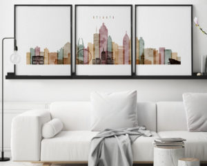 Atlanta watercolor 1 skyline set of 3 prints second