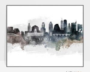 Austin art print watercolor