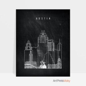 Austin chalkboard black white skyline print
