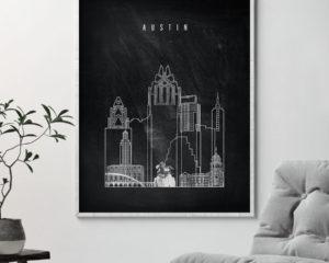 Austin chalkboard black white skyline print second