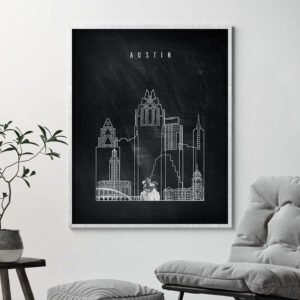 Austin chalkboard black white skyline print second