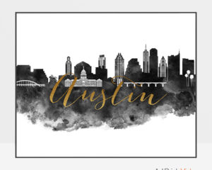 Austin cityscape watercolor poster black white gold