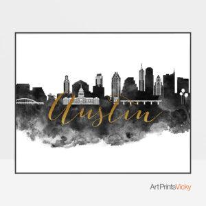 Austin cityscape poster black white gold