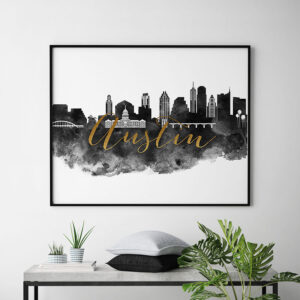 Austin cityscape watercolor poster black white gold second