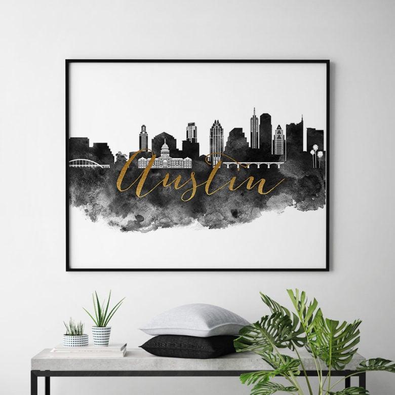 Austin cityscape watercolor poster black white gold second