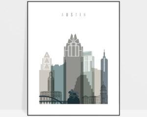 Austin art print skyline earth tones 4
