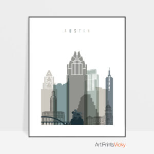 Austin Skyline Earth Tones 4 Art Print