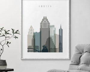 Austin art print skyline earth tones 4 second