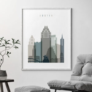 Austin art print skyline earth tones 4 second