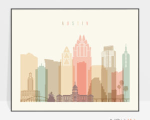 Austin poster skyline pastel cream landscape