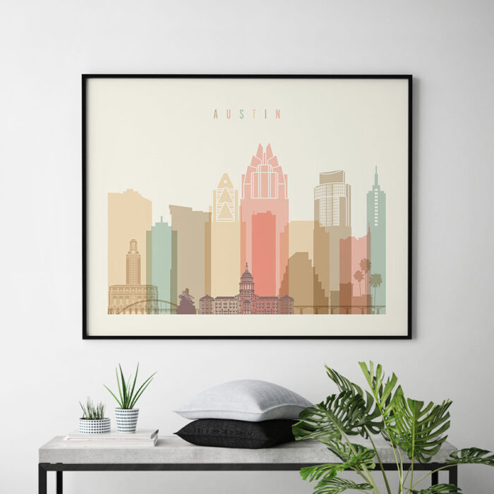 Austin poster skyline pastel cream landscape second