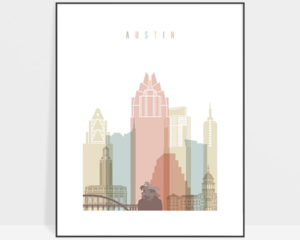 Austin art print skyline pastel white