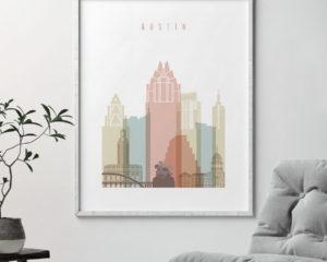 Austin art print skyline pastel white second